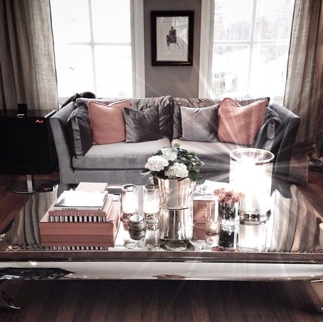 Soft pink grey silver cozy living room