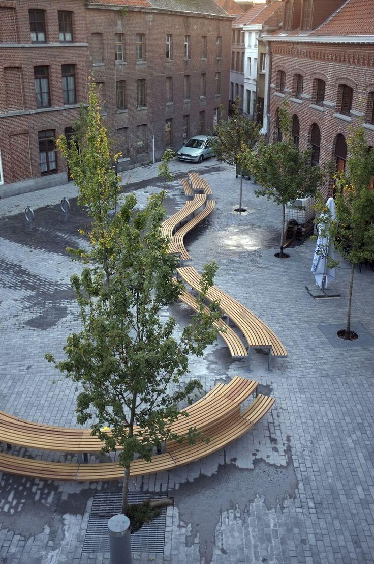 Picnic table / contemporary / galvanized steel / in wood - TOURNAI, BELGIUM - Factory Street Furniture