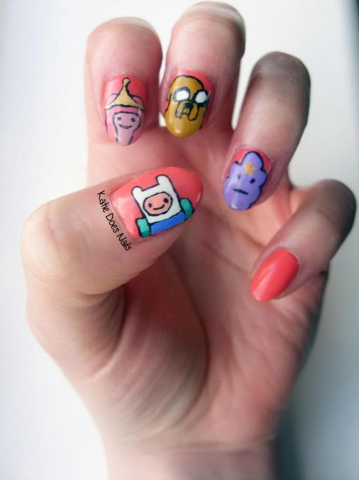 Katie Does Nails: Adventure Time Nails, coral nail polish, nails, nail art, cartoons,