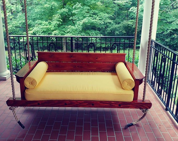 Twin Sized Swing Bed Porch Swing Etsy In 2020 Porch Swing Bed Porch Swing Front Porch Seating