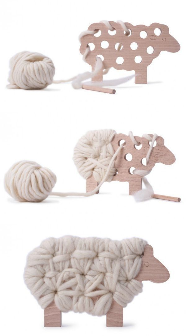 """Woody the sheep knitting toy from Mama Shelter - beautiful toy, made in France, and perfect for practicing fine motor skills, patience and creativity."""