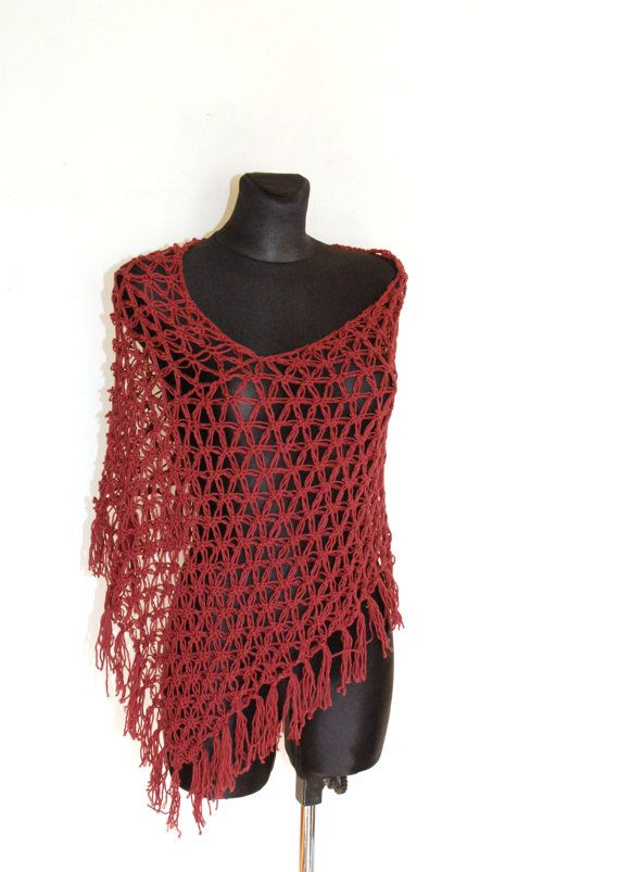 Summer Poncho in Rust Red Oxblood Crochet Poncho with #summerponcho, #redponcho, #crotchetponcho, #aboutcrafts