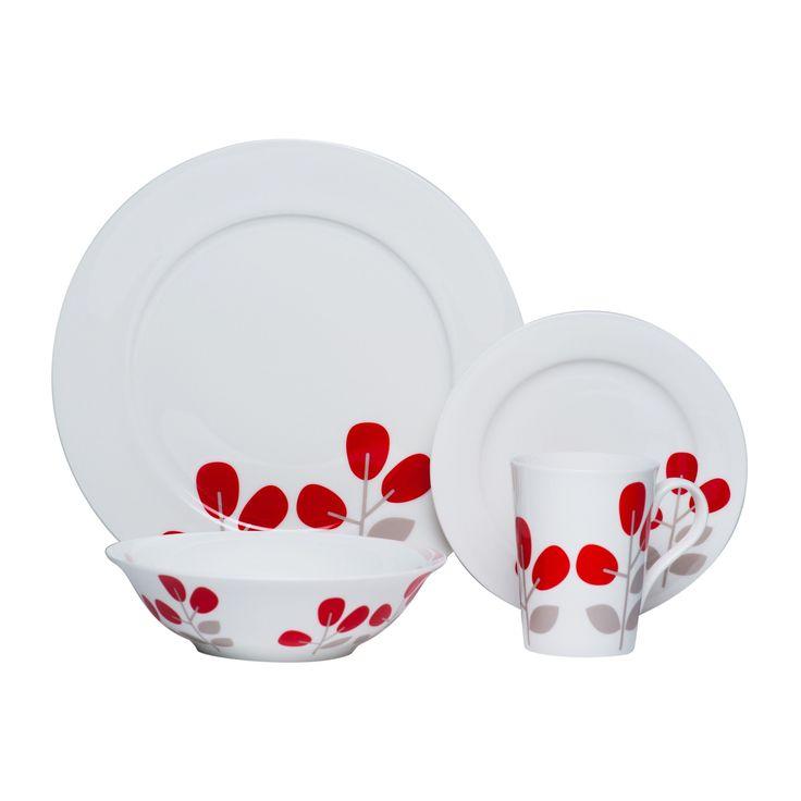 red vanilla winterberry red 16piece dinnerware set