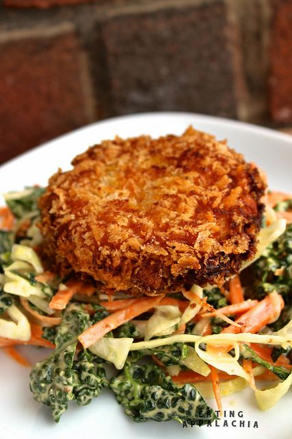 Butternut Chickpea Fritters with Kale Winter Slaw    http://eatingappalachia.com/2013/02/25/butternut-chickpea-fritters-with-kale-winter-slaw/