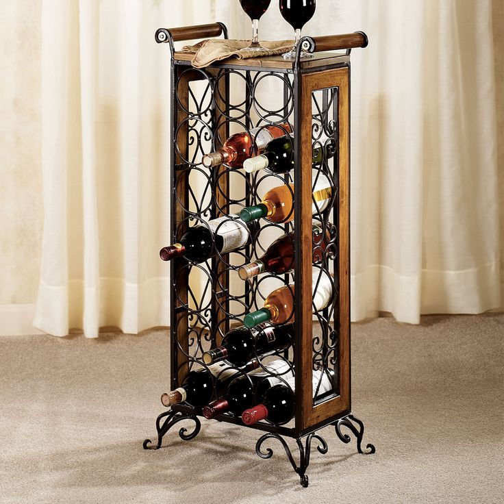 milan metal and wood wine rack