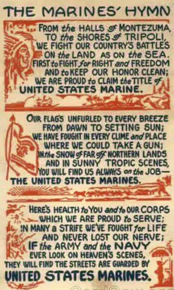 Lyric marine corps hymn lyrics : The 25+ best Marine corps hymn ideas on Pinterest | Marine corps ...