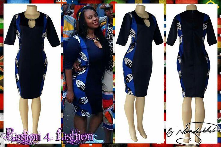 Navy blue & royal blue Swati tight fitting dress with side panels in Swati fabric. With short sleeves. #mariselaveludo #fashion #traditionalwear #passion4fashion #traditionaldress #moderntraditionalwear #swati #swatidress