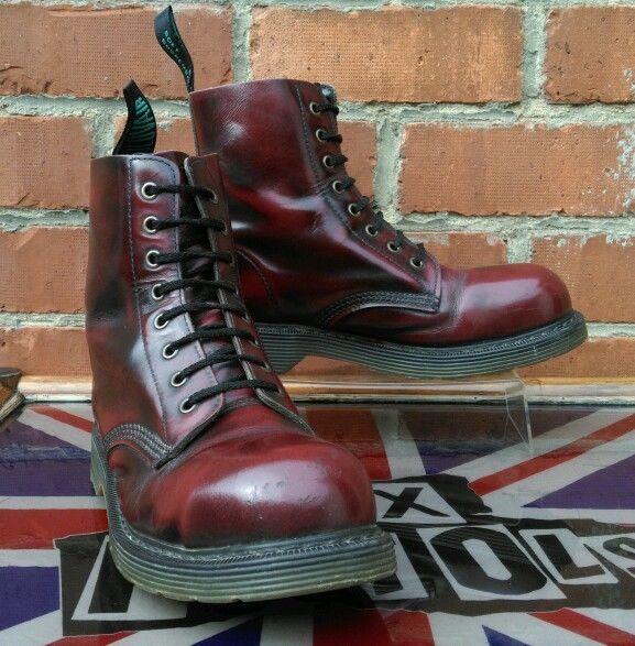 "Solovair ""Oxblood/Black Rub"" Steel Toe boots UK 7 Dr Martens Skinhead Punk Oi!"