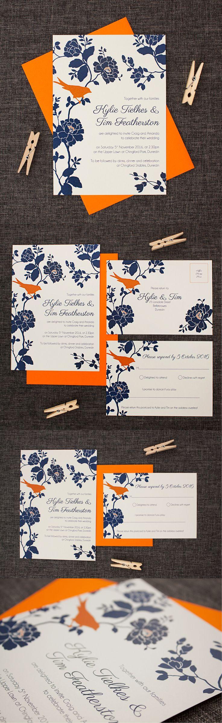 grey orange and navy blue wedding invitations