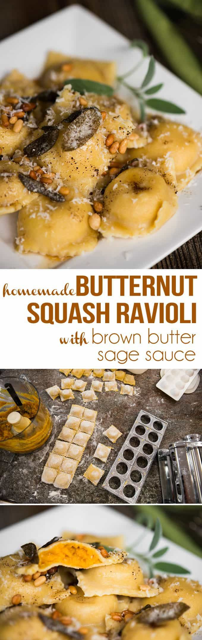 Homemade Butternut Squash Ravioli with Brown Butter Sage Sauce, made with pasta dough from scratch and roasted garlic and butternut, tastes like heaven. #butternutsquashravioli #homemaderavioli