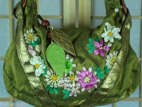 Unique Green Silk Hobo w/ Embellishments
