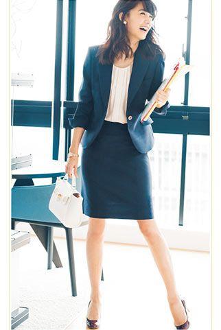 ネイビースーツで清楚なビジネスコーデ♪ビジネススーツスカートのコーデ、スタイル・ファッションの参考に♪