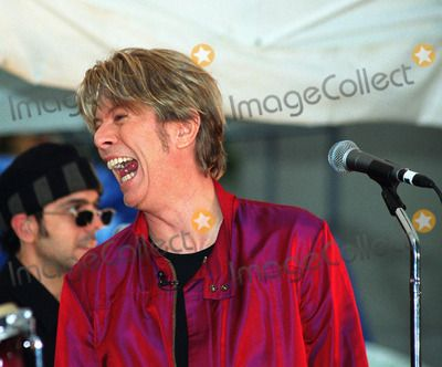 """David Bowie performs on NBC's """"Today Show"""" as part of Summer Concert Series. New York, June 14, 2002."""