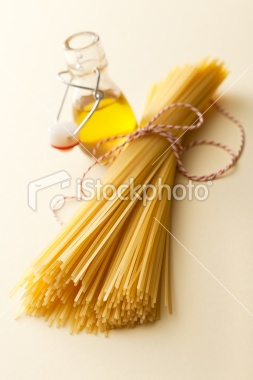 Italian Ingredients: Spaghetti and Olive Oil