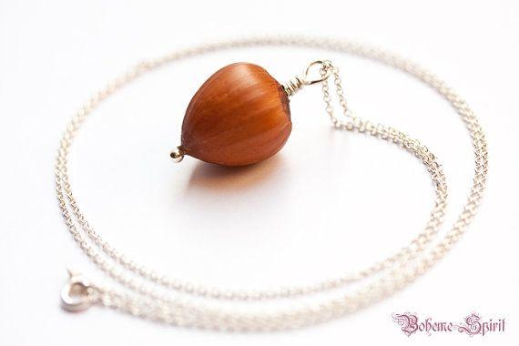 Hazelnut Pendant with 925 Sterling Silver Necklace - by BohemeSpirit on Etsy
