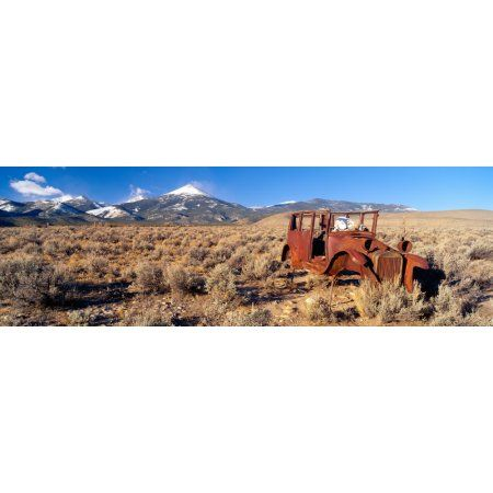 Deserted Car with Cow Skeleton Great Basin Nevada Canvas Art - Panoramic Images (36 x 12)