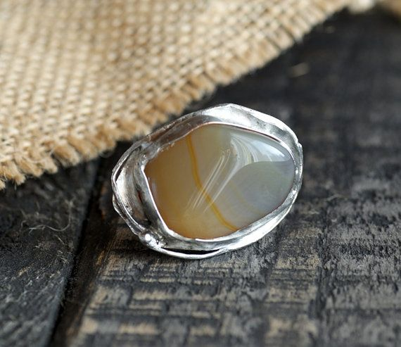 Natural stone colour honey   Handmade metal  ring by studioARTEA