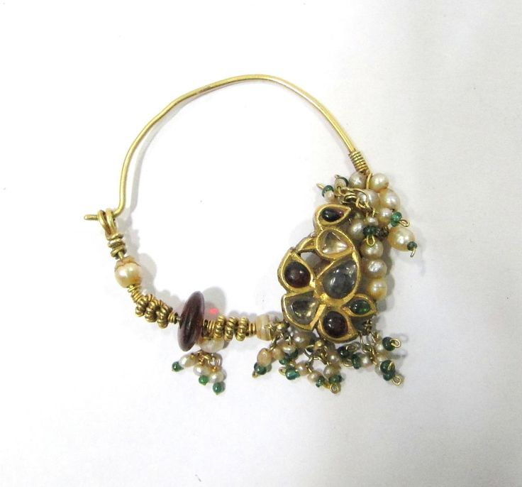 Vintage antique solid 22 k gold Nose ring nath from Rajasthan india