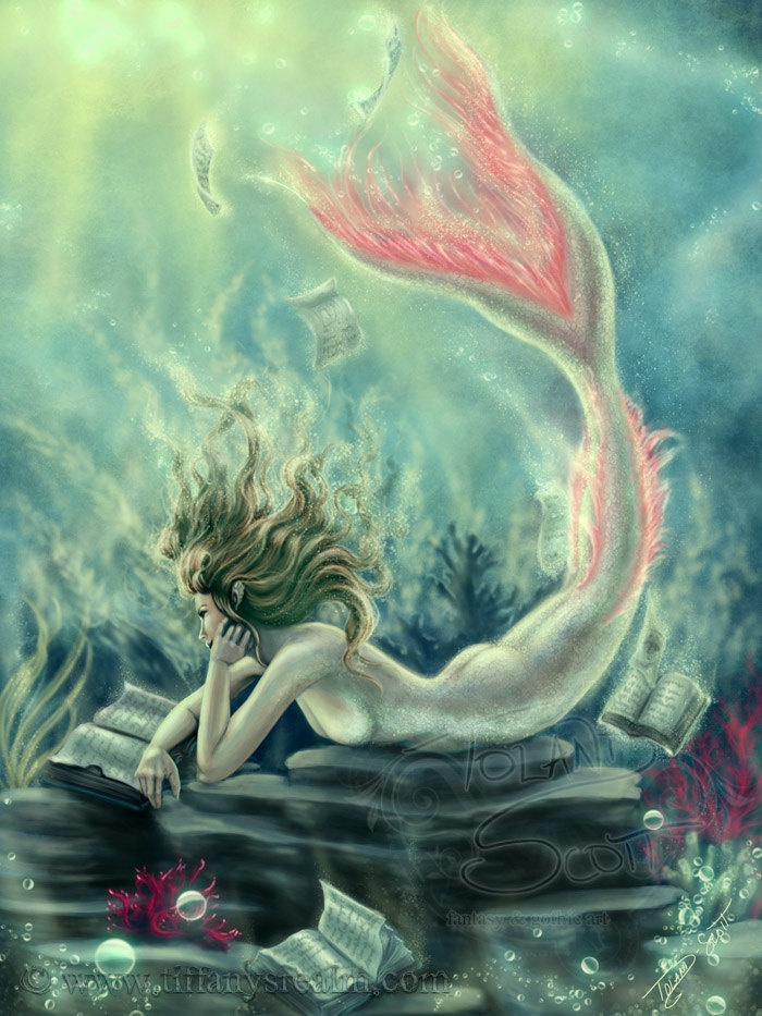 5x7 Lost Books - mermaid siren books fantasy art painting print. $5.00, via Etsy.