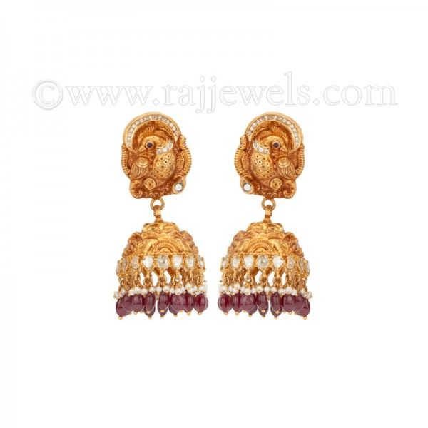 Peacock Diamond Jhumkas | #Jhumka #earrings in 22 karat yellow gold in gheru finish, traditional Indian design #peacock earrings, studded uncut #diamonds (3.6 carats), basra #pearls and #burgandy color stones. - See more at: https://www.rajjewels.com/22-k-gold-gheru-stone-jhumka-earring-s.html#sthash.32P9THBA.dpuf