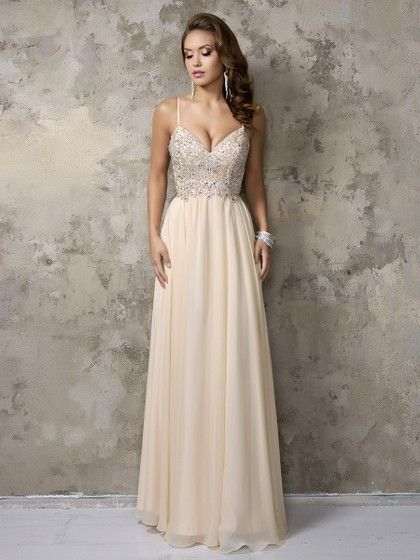 Spaghetti Straps V-neck Champagne Chiffon Crystal Detailing Floor-length Prom Dress