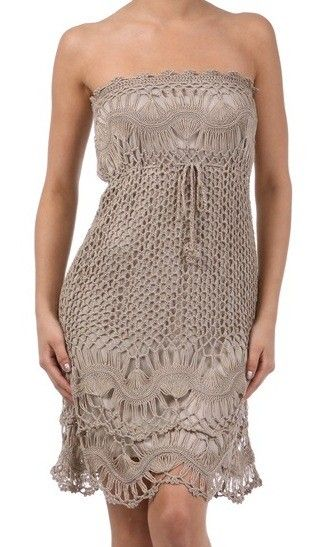 TAN STRAPLESS CROCHET DRESS