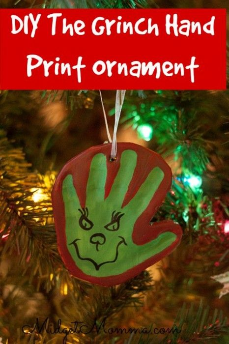 DIY Homemade air dry clay grinch ornament that is perfect for keeping the adorable handprints of the kids.