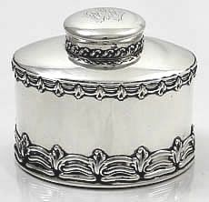 Tiffany oval antique sterling tea caddy in the English King pattern