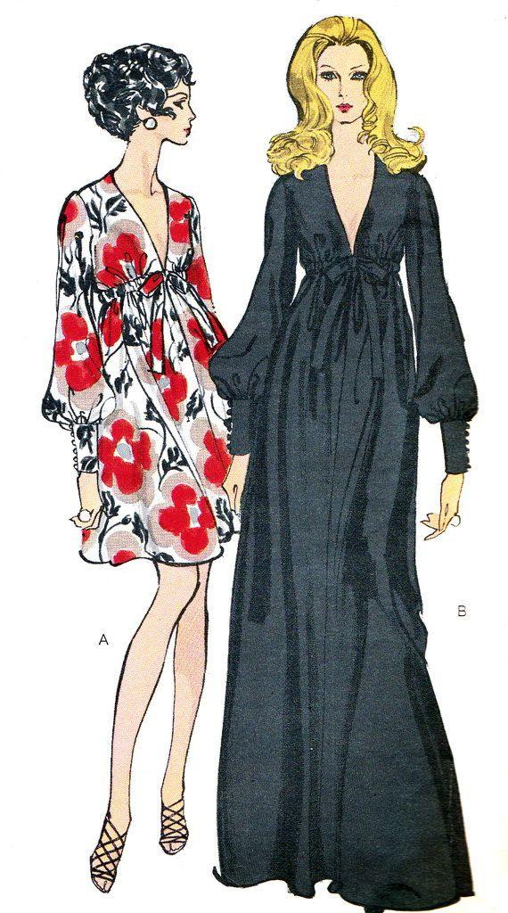 1970s Evening Gown Pattern Vogue 7630 Empire Waist by paneenjerez, $55.00