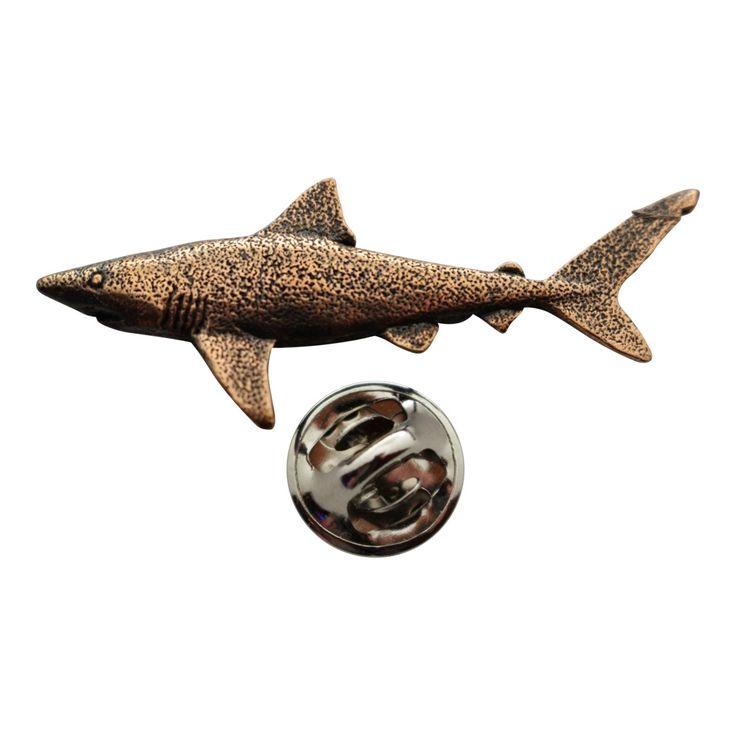 Dusky Shark Pin ~ Antiqued Copper ~ Lapel Pin