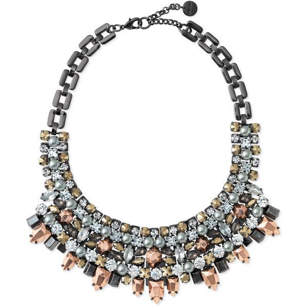 Stella & Dot Kahlo Bib Necklace - Hematite (8,895 INR) ❤ liked on Polyvore featuring jewelry, necklaces, accessories, colares, stella & dot, hematite necklace, long bib necklace, bib jewelry, stella dot necklace and stella dot jewelry