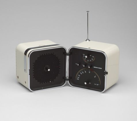 "Radio (model TS 502)  Marco Zanuso (Italian, 1916-2001) and Richard Sapper (German, born 1932)    1963. ABS plastic and aluminum, Each: 5 1/4 x 8 5/8 x 5 1/4"" (13.3 x 21.9 x 13.3 cm). Manufactured by Brionvega S.p.A., Italy"
