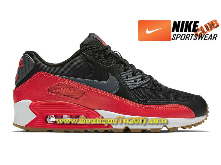 Nike Air Max 90 Essential Chaussures Nike Basket Pas Cher Pour Homme Noir/Rouge 616730-025H-1704110971-Chaussures de Basket, Nike Tn Requin Pas Cher
