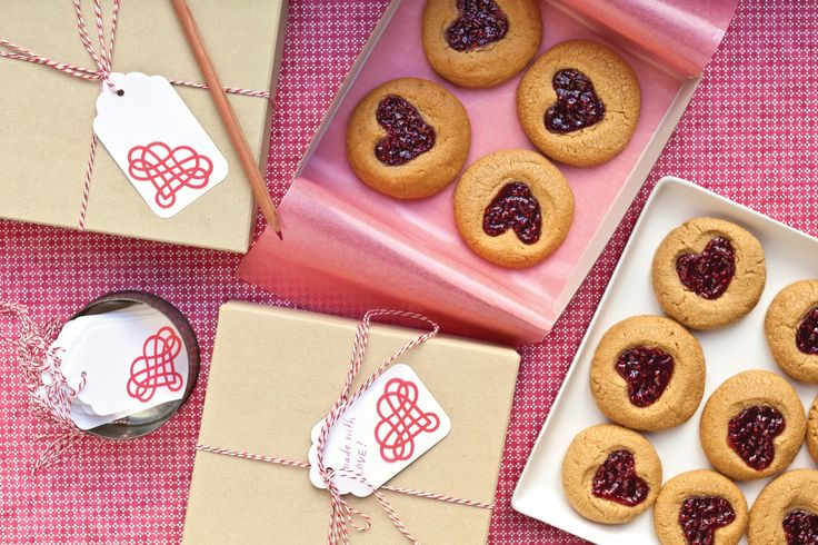Peanut-Butter-and-Jam Heart Cookies | Recipe | Heart Cookies, Cookies ...