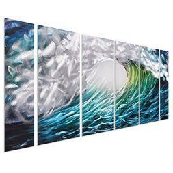 Japanese Wall décor is truly mystical, enchanting and  beautiful. Chances are you have seen  those pretty Japanese wall fans or a captivating cherry blossom painting. Either way Japanese home wall art décor is  stylish, unique and very popular in homes across the USA.   Pure Art The Great Wave off Kanagawa, Sea Storm Metal Wall Art Decor - Aquatic Beach of Greens, Blue's Turquoises and Silvers - Set of 6 Tropical Ocean Wave - 64