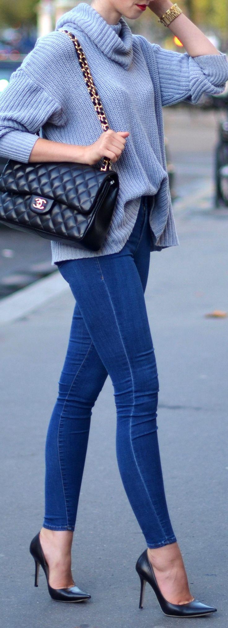 American Apparel turtle neck // Topshop jeans // Jimmy Choo heels