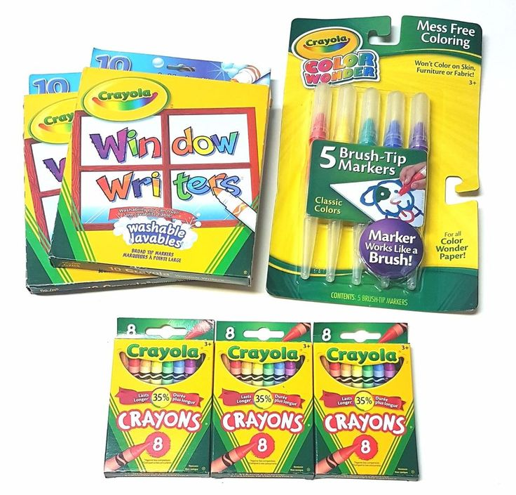 Lot of 6 Crayola Kids  Writing/Colouring Items - Crayons, Markers, Paint Brushes | eBay