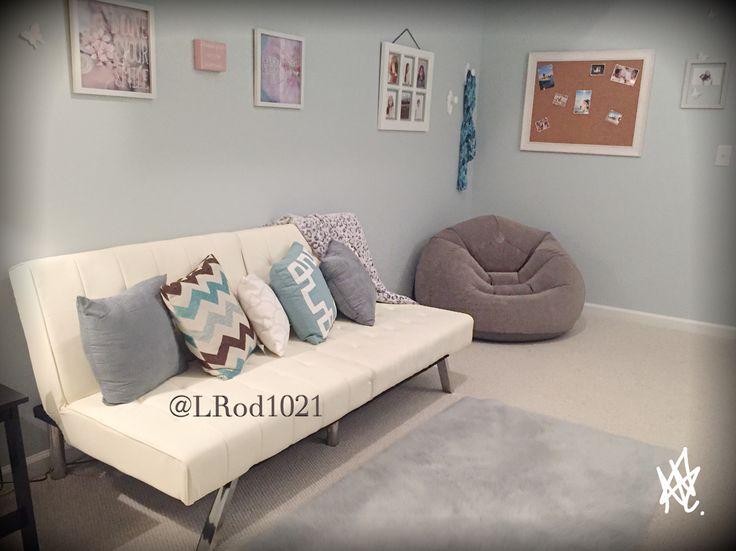 teen hangout room leather futon with decorative pillows inflatable chair farmhouse frame - Futon Bedroom Ideas
