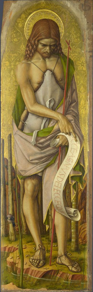 CARLO CRIVELLI (1435 – 1495), St. John the Baptist with goldfinch, National Gallery, London.