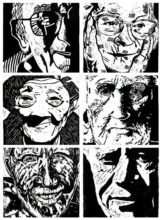 Grade 9 Lino Cut Portraits
