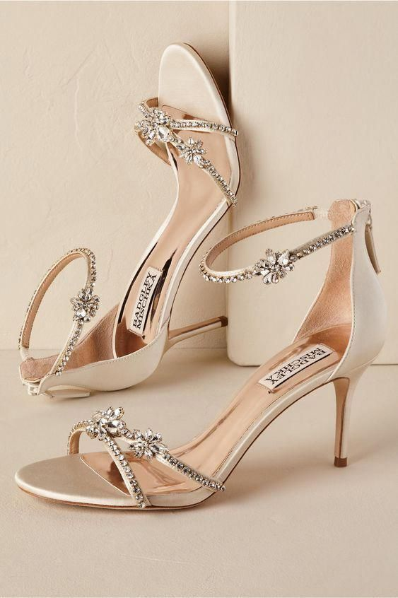Strappy Crystal Heel Gold In Bride Bhldn Shoeshighheels Wedding Shoes Bridal Shoes Shoe Inspiration