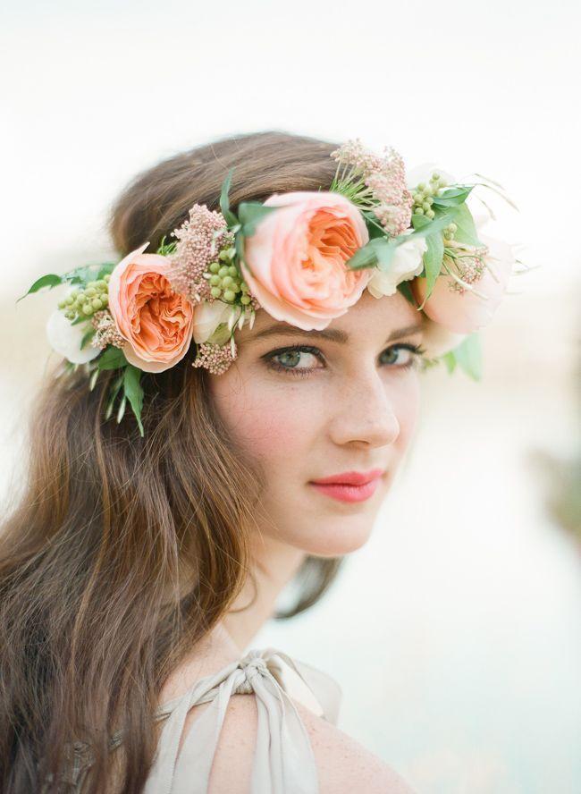 Peach rose bridal flower crown
