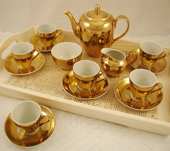 Vintage Gold Coffee Or Tea Set Coffee Pot Six Cups And