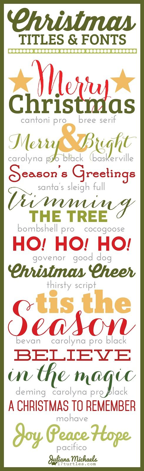 Christmas Titles and Fonts Juliana Michaels 17turtles  ~~ {15 Free fonts w/ easy download links} ~~