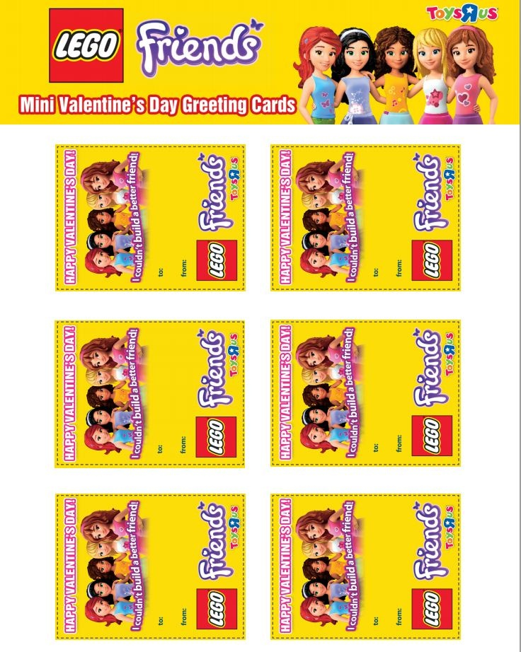 #Valentines from #LEGO friends - just click and print !