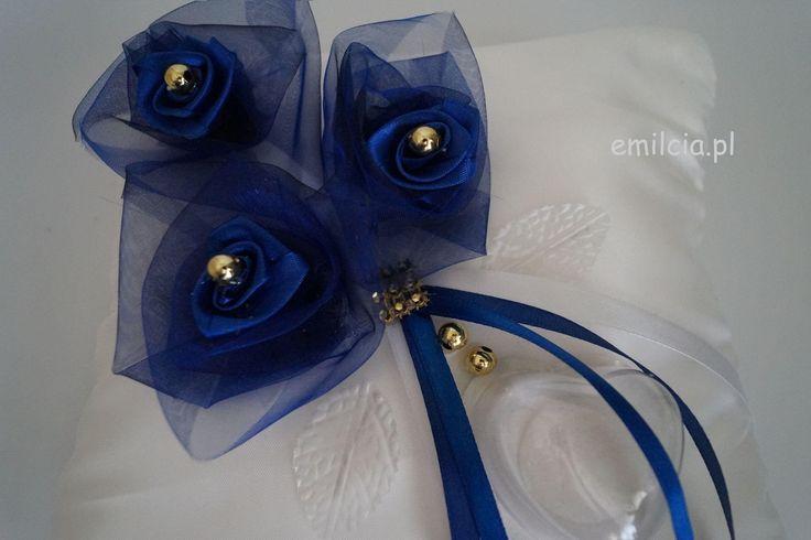 Dodatki Ślubne , Wedding , Poduszkana Obrączki Poduszki na obrączki chabrowy z bielą i ze złotem , Ślub