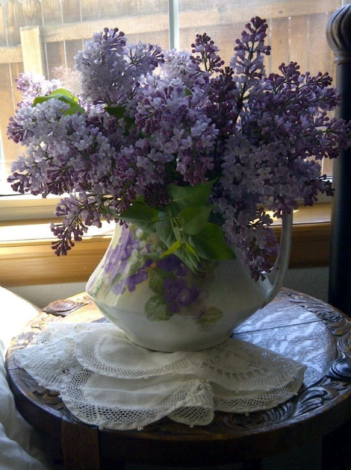 My neighbor's lilacs, my antique vase, doily and antique carved table on Easter morning