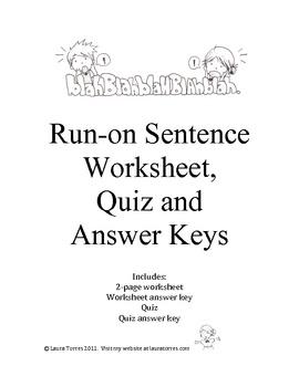 run on sentence worksheets quiz and answer keys sentences worksheets and school. Black Bedroom Furniture Sets. Home Design Ideas