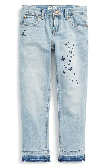 Free shipping and returns on Peek 'Stevie' Jeans (Toddler Girls, Little Girls & Big Girls) at Nordstrom.com. A swarm of butterflies flutters across girlish jeans cut from soft, faded denim in classic five-pocket style.
