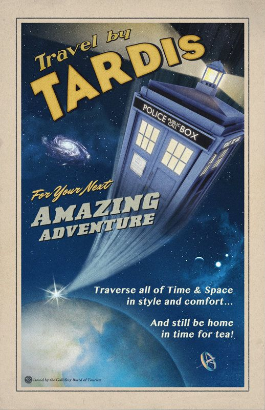 Travel by TARDIS // Vintage Styled Doctor Who Poster //  Police box zooming in Space 11x17 Print